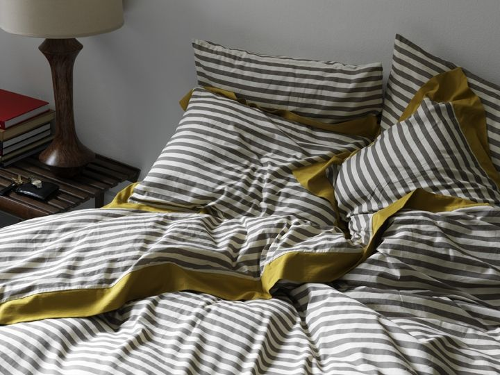 Grey And White Stripe With A Mustard Trim Dwell Studio Bedding Modern Duvet Covers Duvet Sets