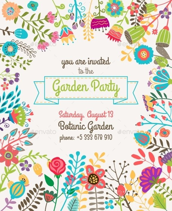 garden or summer party invitation template poster fonts logos