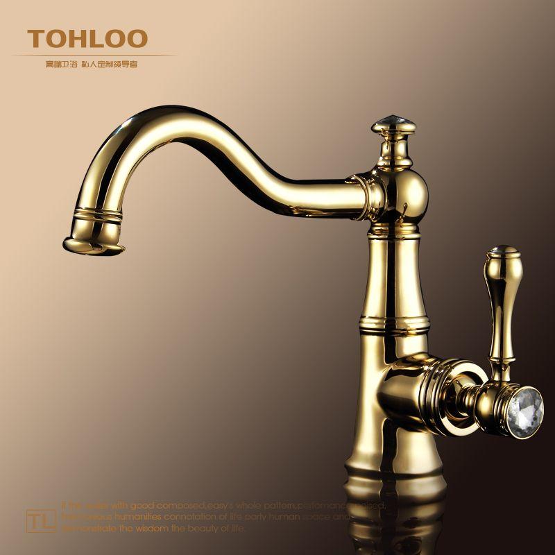 er bathroom bathroom full copper gold diamond basin faucet European ...
