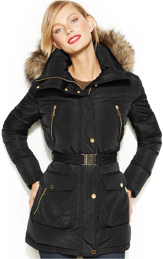 MICHAEL Michael Kors Faux Fur Trim Down Puffer Coat on