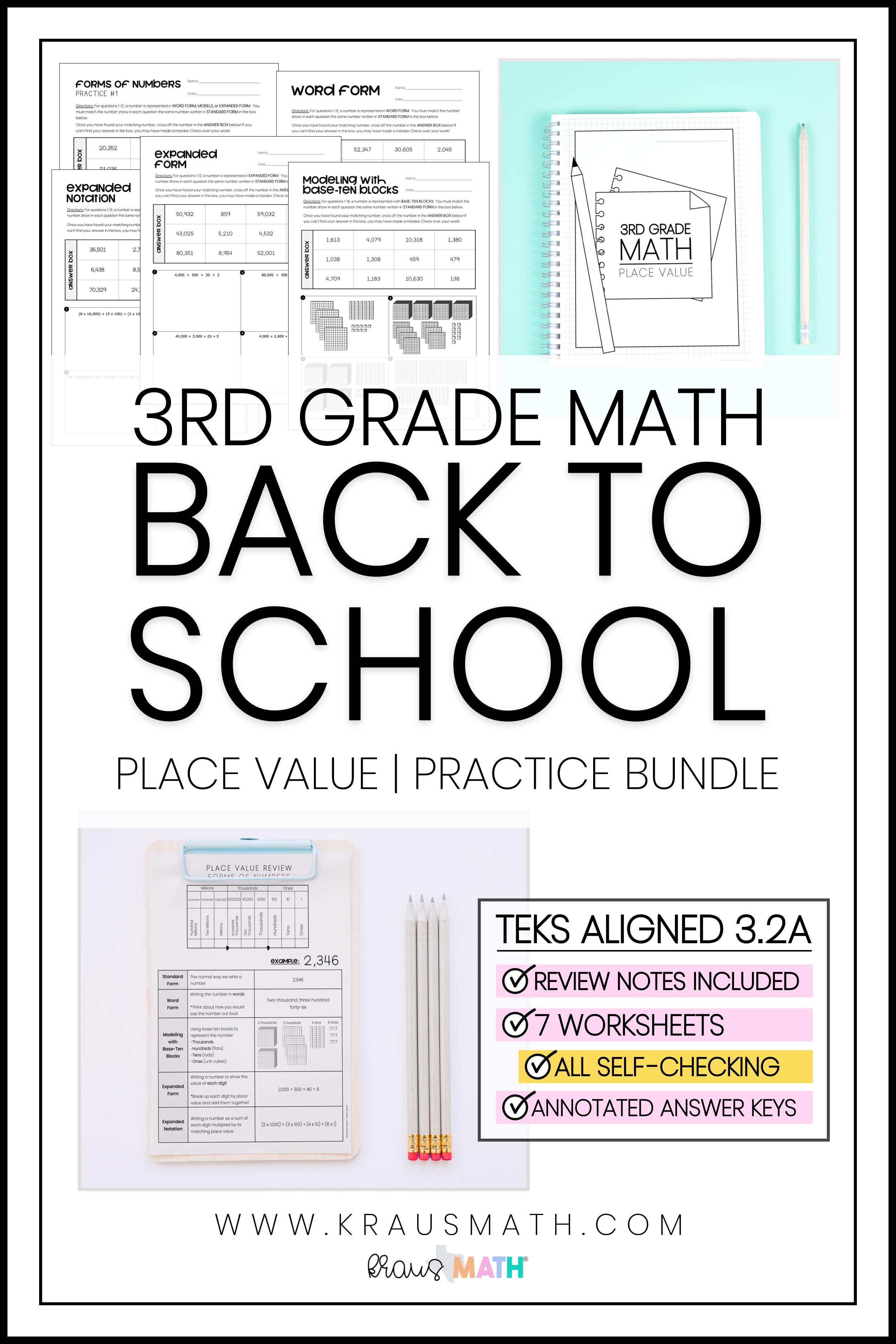 3rd Grade Math Packet 1 Place Value Kraus Math 3rd Grade Math Math Packets Staar Math [ 3750 x 2500 Pixel ]