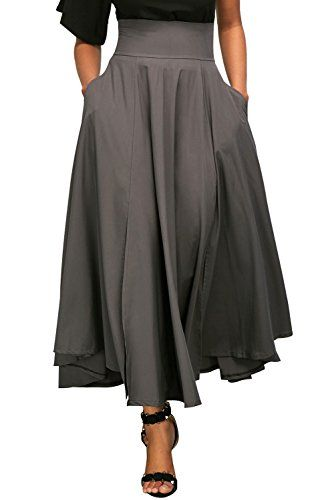 e5213c1ed51dca Lalagen Women's Plus Size Vintage High Waist Pleated A Line Swing Long Skirt  Midi Skirt With
