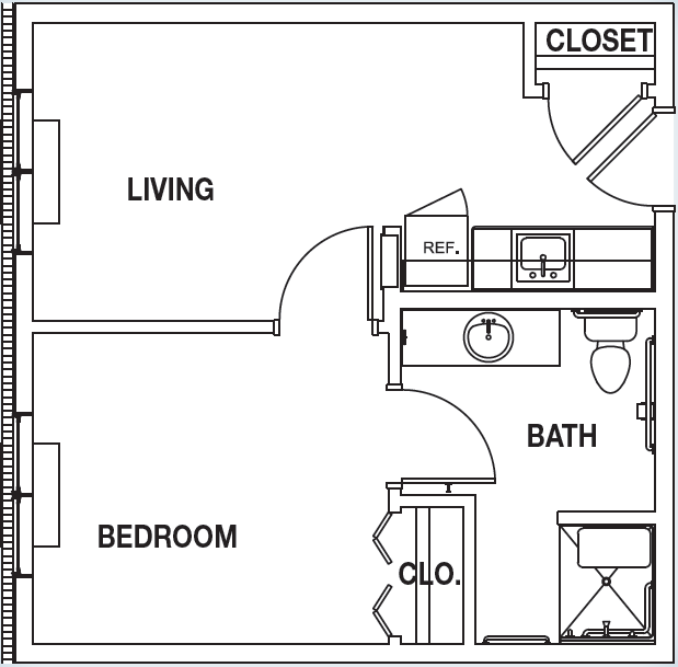 One room home addition plans floor plan b one bedroom for Room addition blueprints
