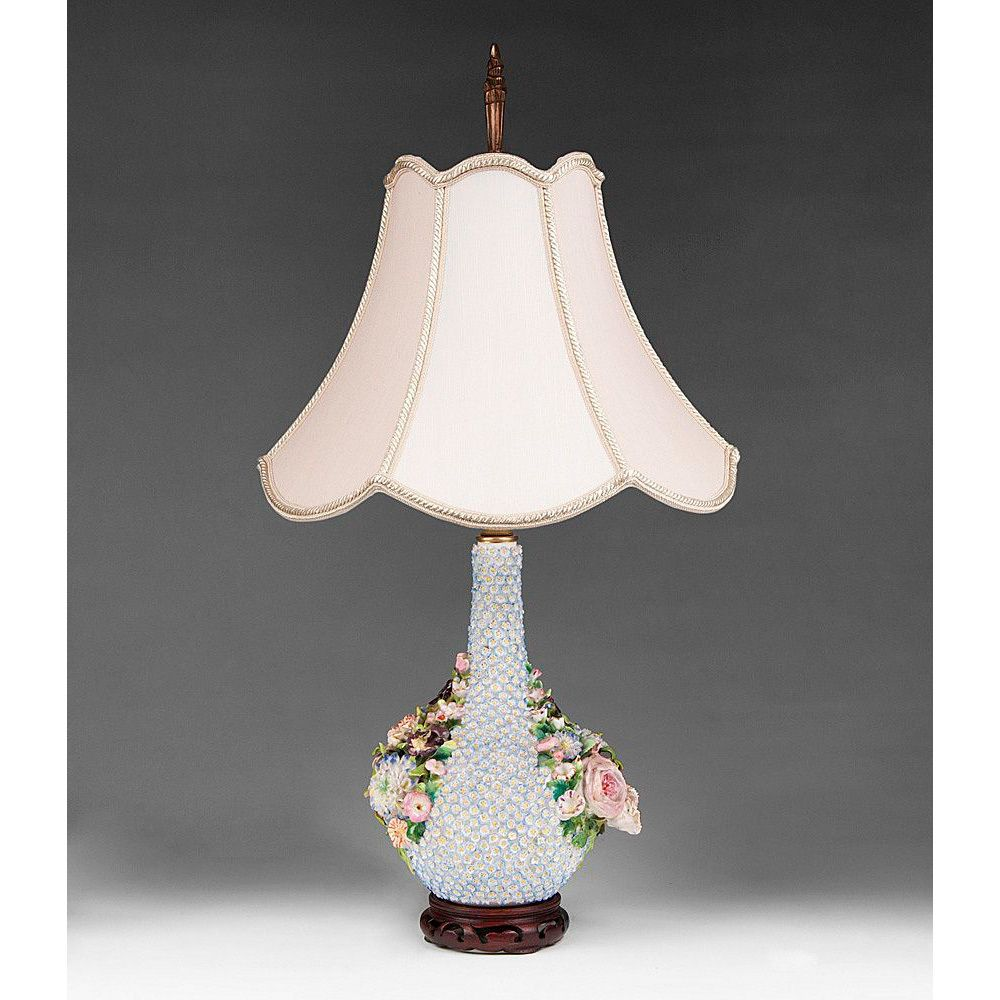 Paris Porcelain Hand Decorated Vase Fitted For Lamp Pia: 19th Century Flower Encrusted Jacob Petit Vase Fitted As