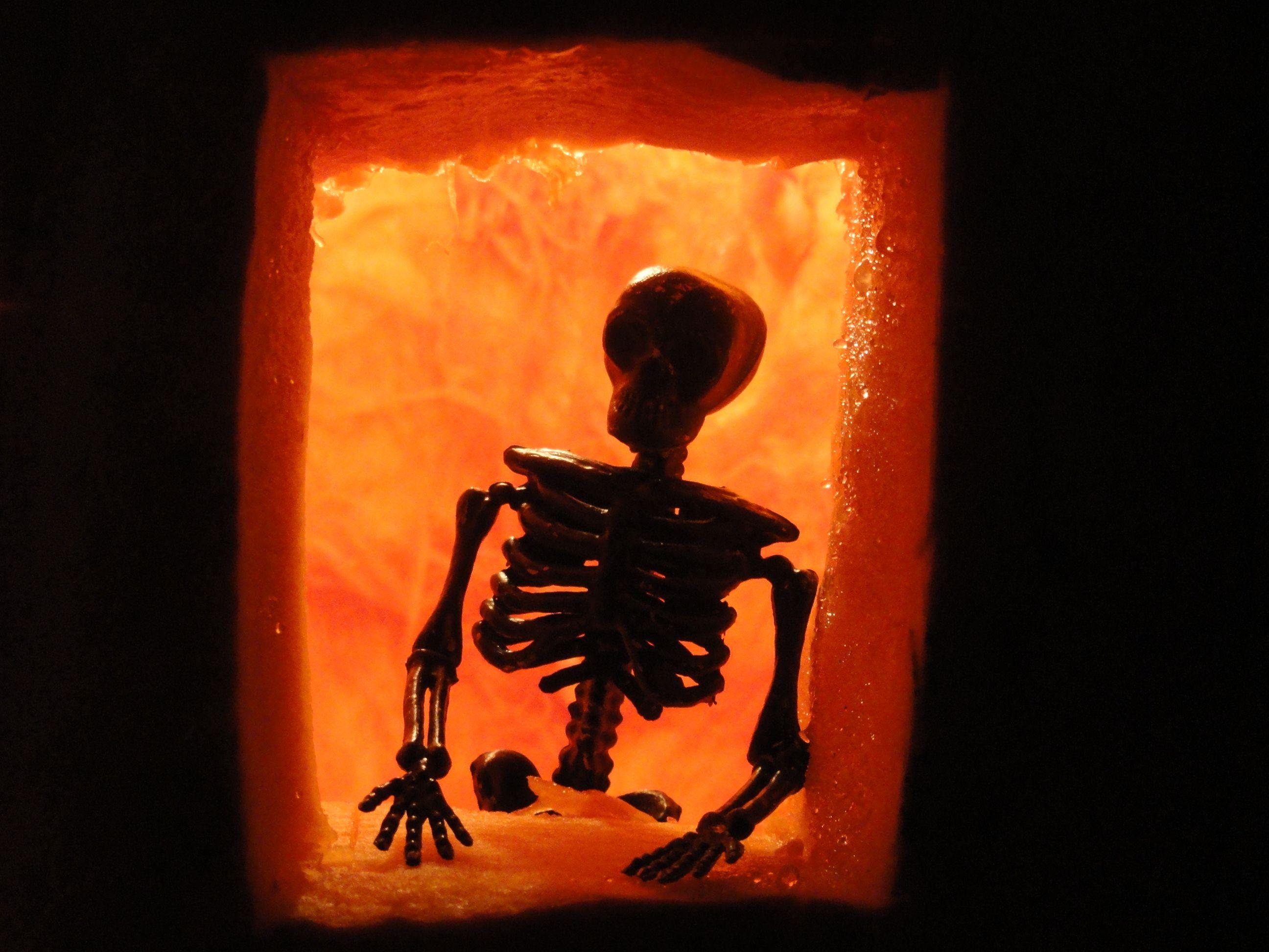 pumpkin carving skeleton house sillouhette for Halloween