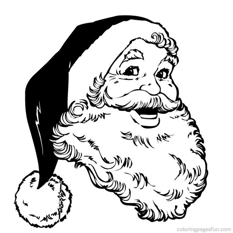 Santa Claus Face Coloring Pages - AZ Coloring Pages ...