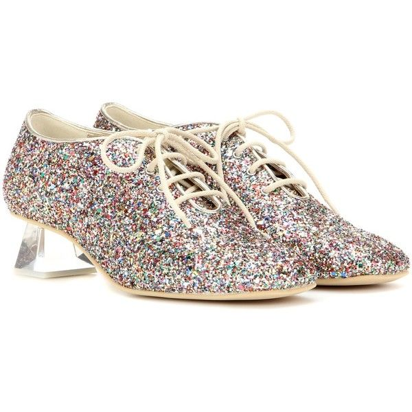 Stella McCartney Lace-Up Glitter Pumps (3.490 BRL) ❤ liked on Polyvore featuring shoes, pumps, multicoloured, laced shoes, lace up pumps, colorful pumps, multi color glitter pumps and multi colored shoes