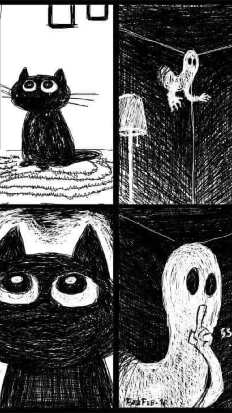 Cat & Ghost Ghost comic, Ghost cat, Art