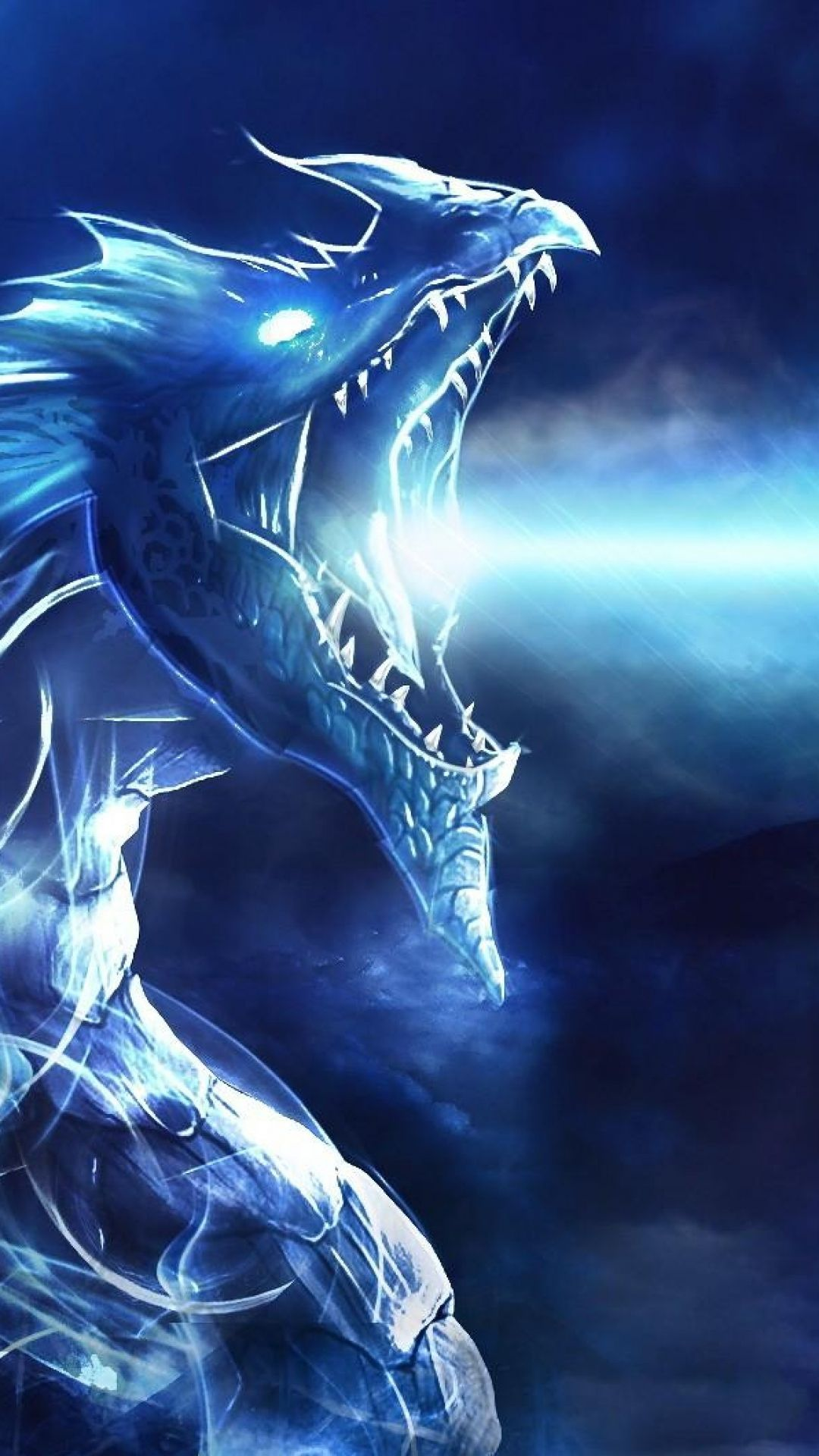 1080x1920 Wallpaper dragon, mouth, night, light Dragones