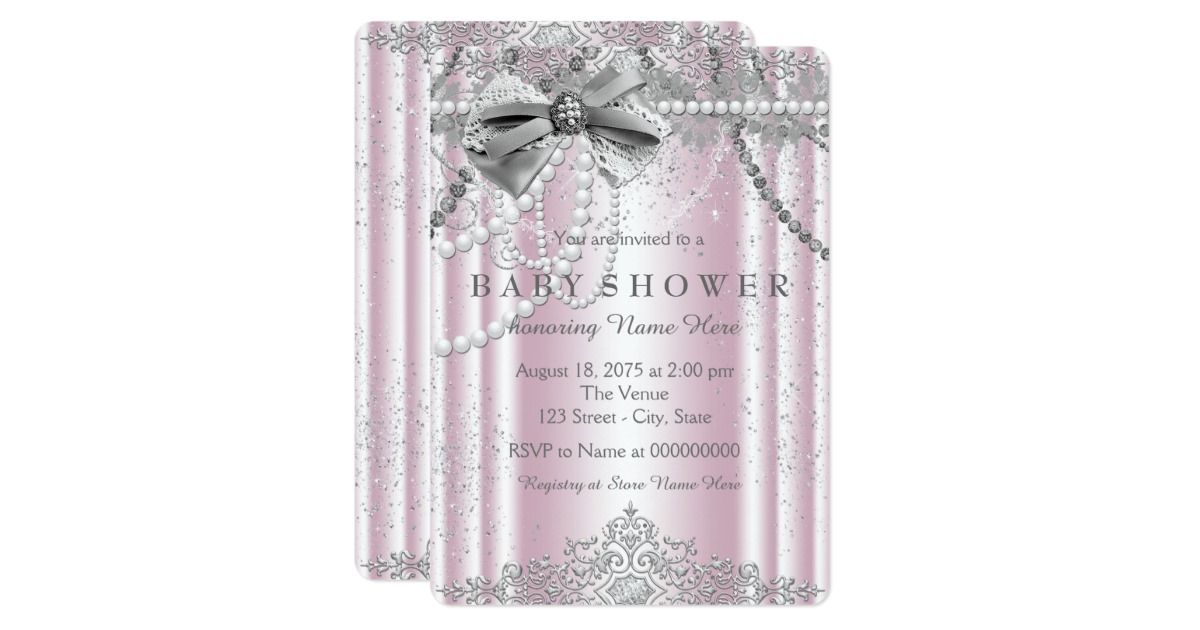 Elegant pink and gray baby girl shower invitation. You can easily ...
