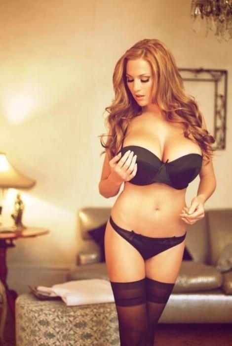 Sexy redhead black lingerie
