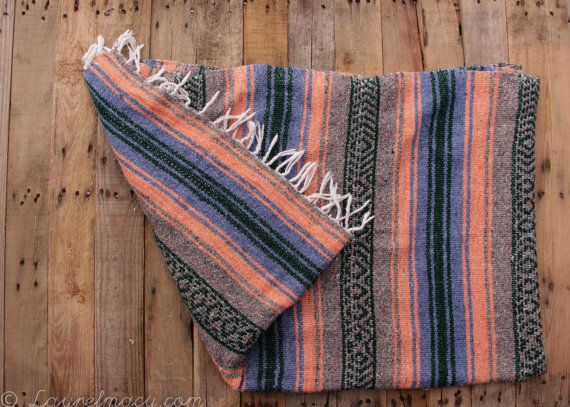 1970/'s Vintage Falsa Mexican Blanket with Warrior