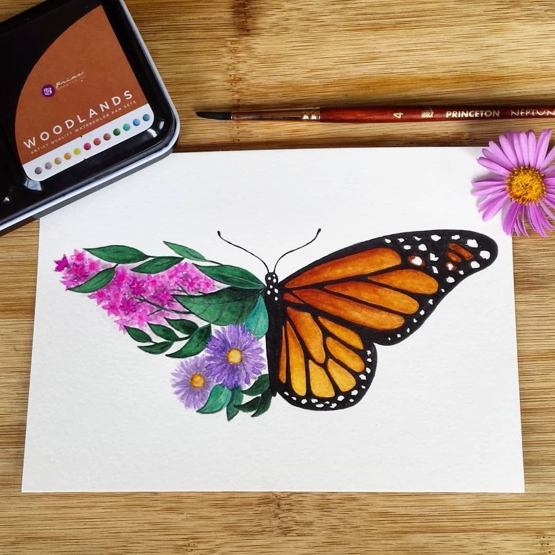 Kristin On Instagram Monarch Butterfly With Asters And Butterfly Bush I Hope To Get Some Real M Butterfly Art Painting Butterfly Drawing Butterfly Painting