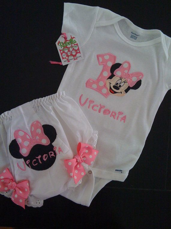 Personalized Minnie Mouse 1st Birthday Girl Bodysuit or T-Shirt