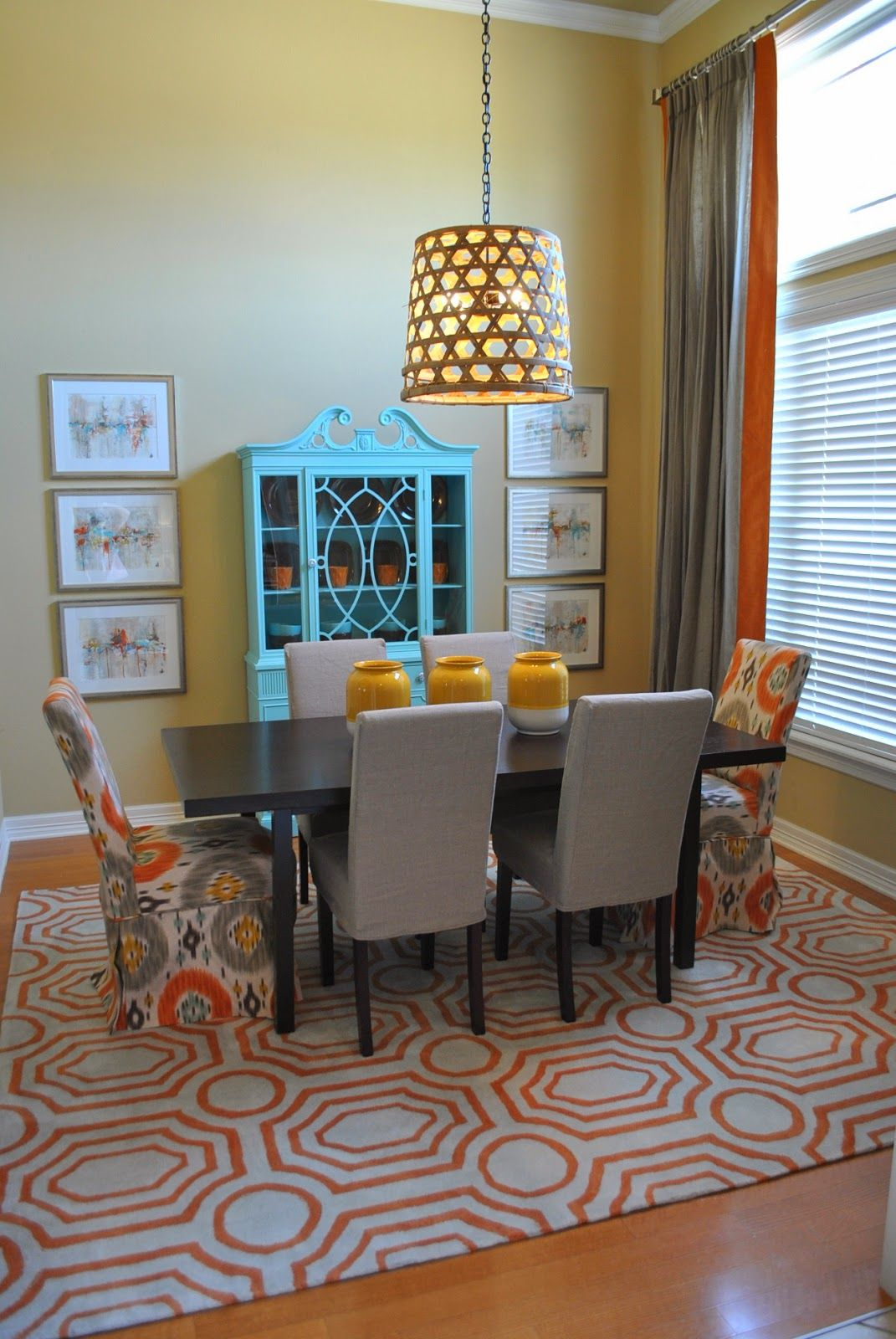 Design Of Dining Room And Living Room: Orange, Blue And Grey Dining Room Makeover (The Francis