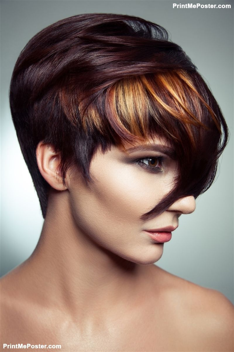 Poster Of Fashion Portrait Of A Beautiful Girl With Colored Dyed Hair Professional Short Hair Coloring Haircuts For Fine Hair Short Hair Balayage Hair Styles