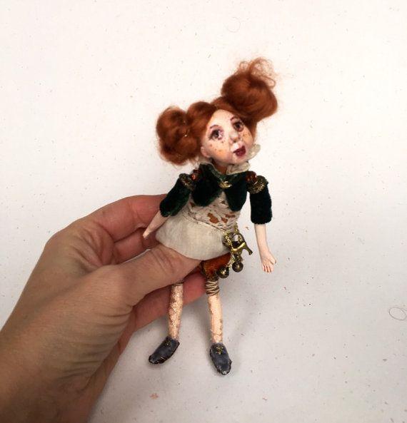 Tiny OOAK Art Doll Brooch Ronja - Handmade Fairy-tale Brooch Doll - Pocket Dolls - Paper Clay Brooch - Dolls Miniature