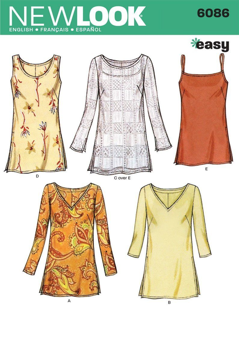 Sewing pattern tunic dress images craft decoration ideas amazon new look sewing pattern 6086 misses tops size a 10 amazon new look sewing pattern jeuxipadfo Gallery
