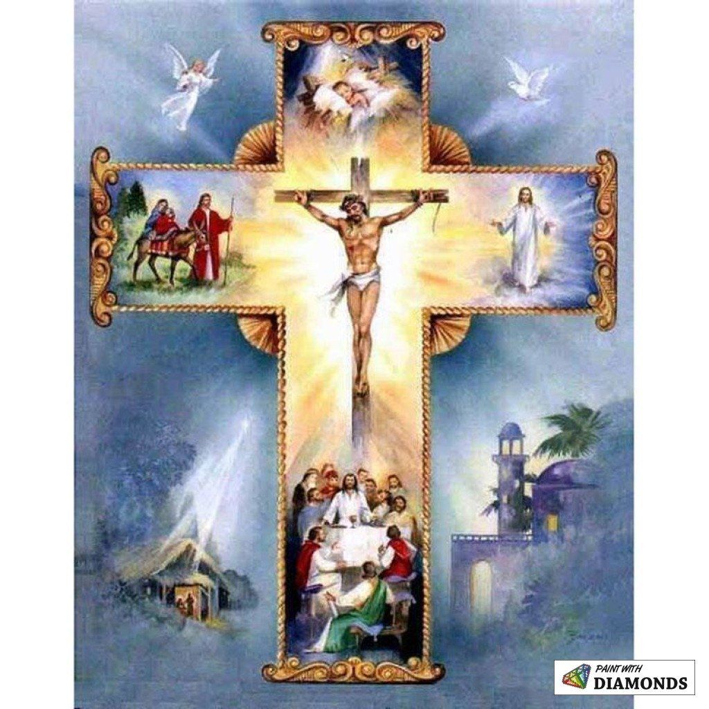 DIY 5D Full Drill Diamond Painting Cross Stitich Holy Jesus Cross Stitch Decor
