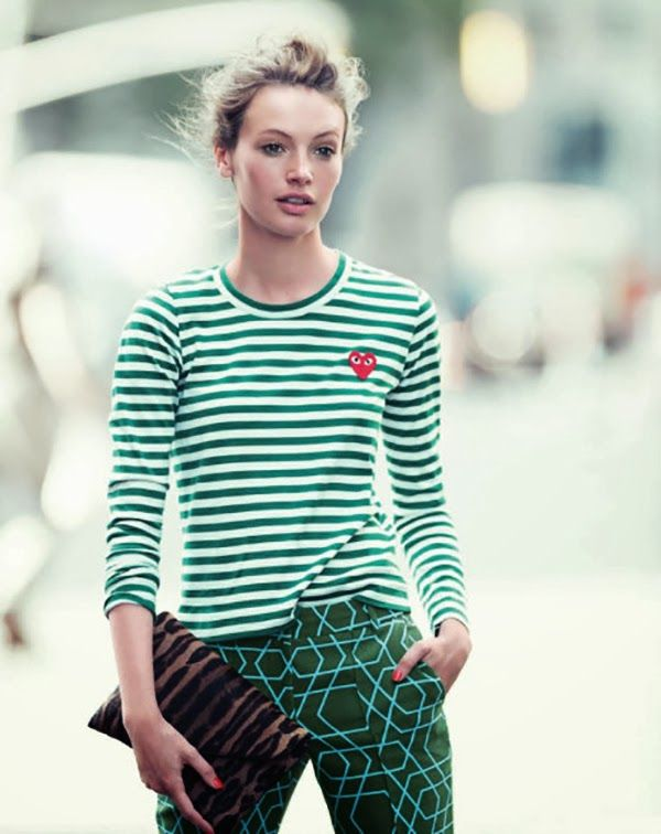 I'm in Love (with the messy J. Crew Hair) ~ green clash of prints