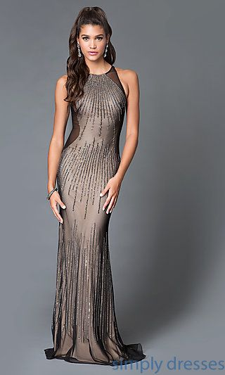 Dave and Johnny Beaded Long Black and Nude Dress | Formal prom ...