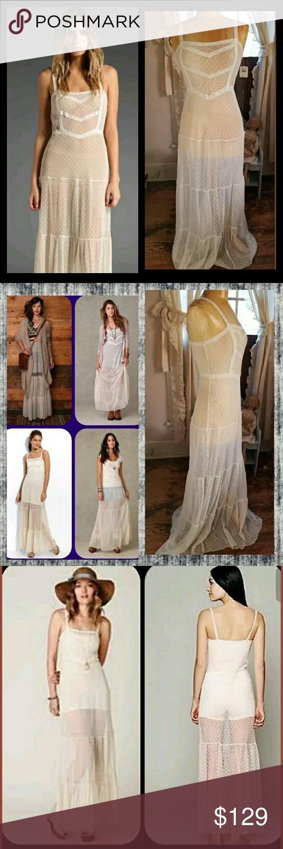 Free people swiss dot mesh lace tiered maxi dress nwt chunky
