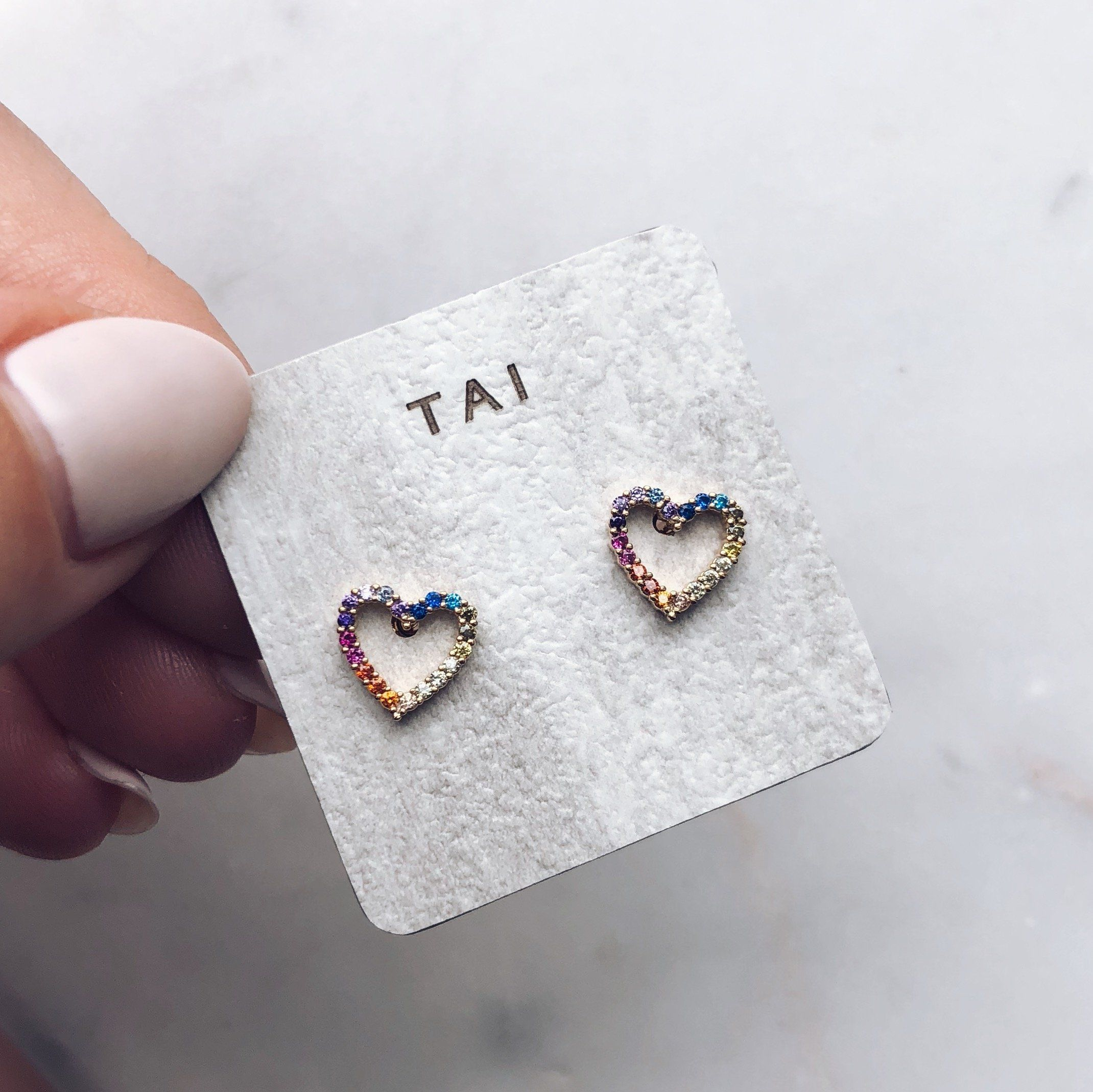 Feel The Love In These Cz Rainbow Heart Studs From Tai Jewelry Sterling Silver Posts 14k Yellow Gold Plated Br Base Rox 8 2mm X 5mm Hearts Micro