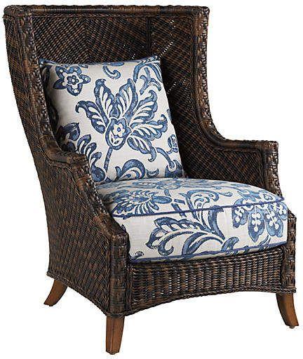 Tommy Bahama Lanai Wing Chair Blue White Gartenstuhle Terrassen Stuhle Korbstuhle