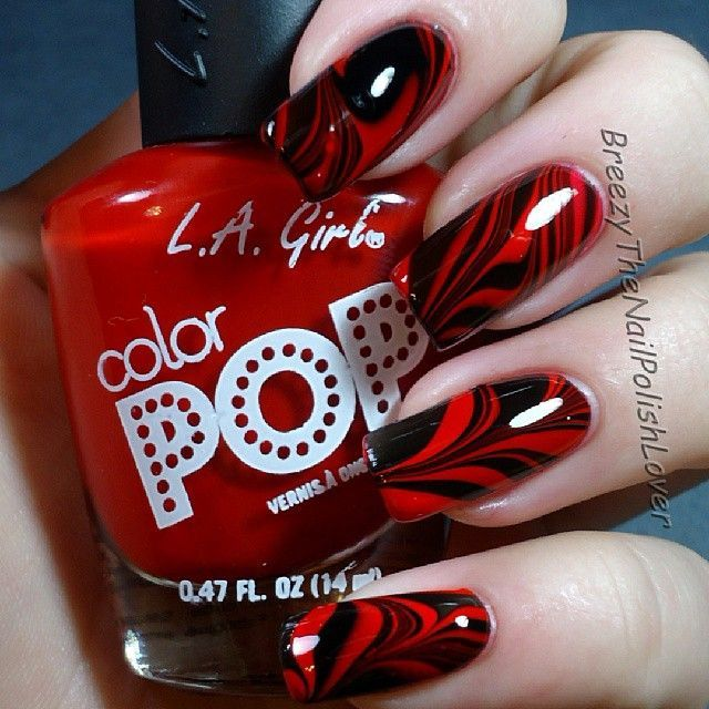 Black And Red Color Nail Art In 2020 Black Nail Designs Nail