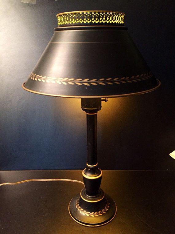 Vintage Black Gold Tole Lamp Lamp Black Gold Vintage Black