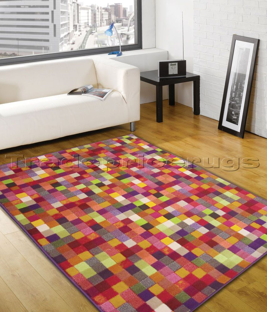 Large Vibrant Red Orange Green Blue Pink Patchwork Funky Rug Squares Blocks