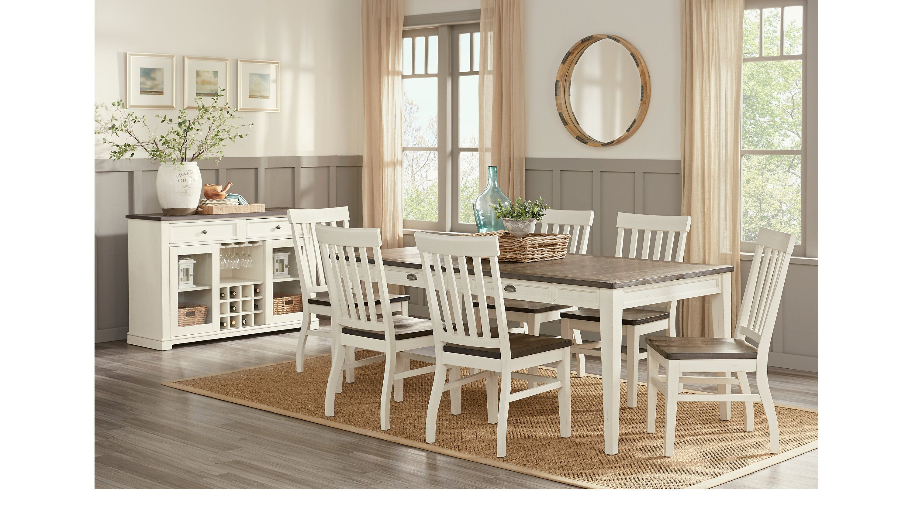 Keston White 5 Pc Rectangle Dining Room Casual Casual Dining Room Furniture Dining Room Sets Casual Dining Room Set