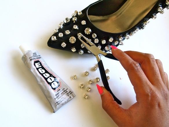 DIY Rhinestone Embellished Heels Glitter N Glue