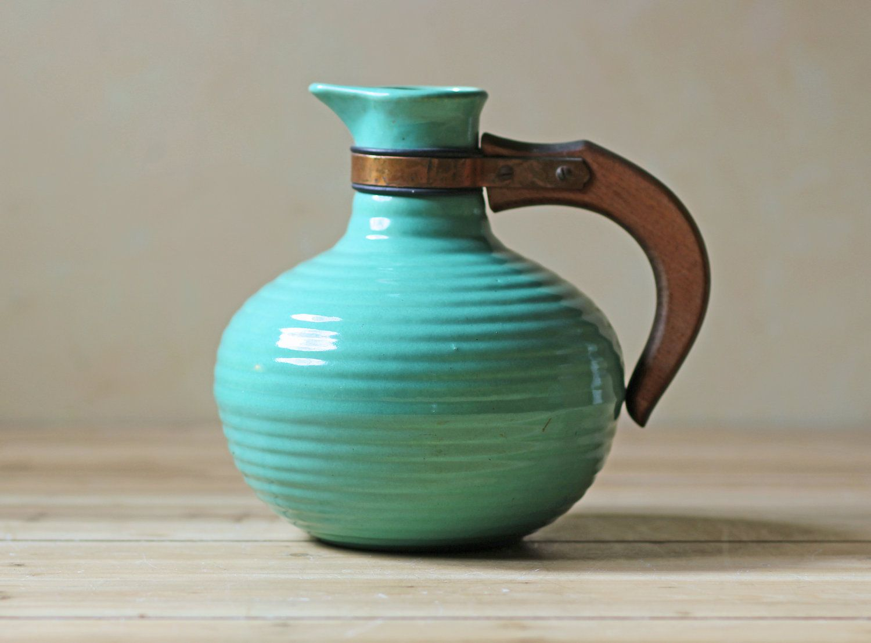 Seagreen modern ceramic teapot with teak handle   home