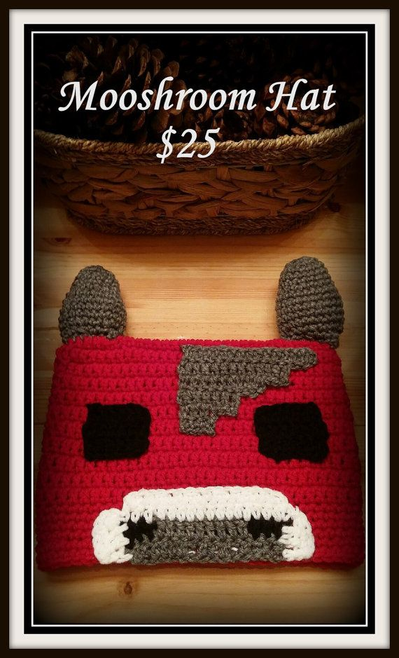 Crochet Minecraft Mooshroom Hat | Gorros