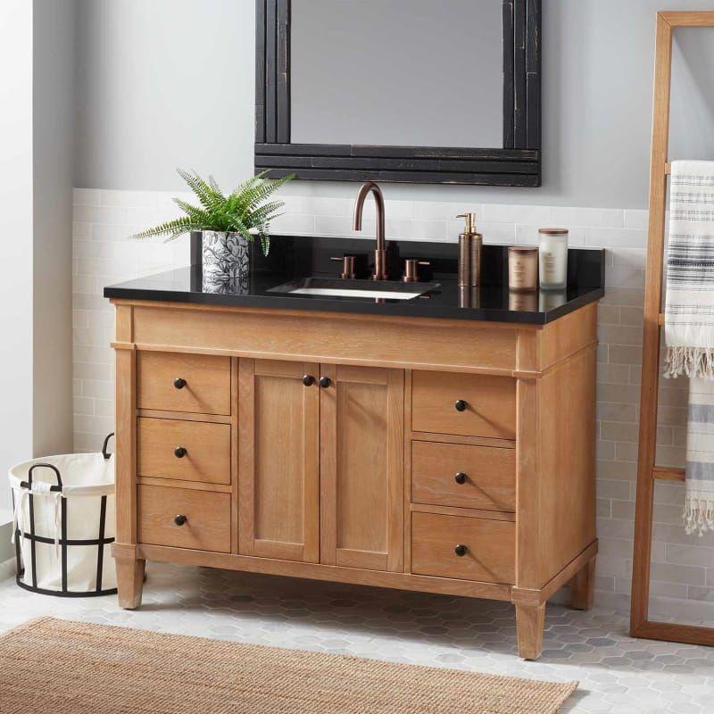 In Oak Absolute Black Full Size Wood Bathroom Vanity Unique
