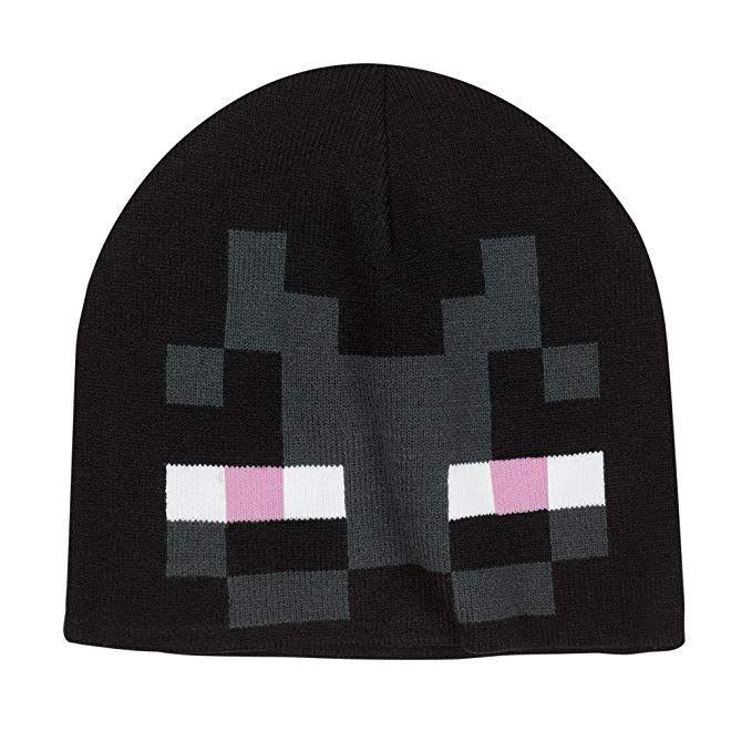 46057028e311a JINX Minecraft Enderman Face Knit Beanie (Black