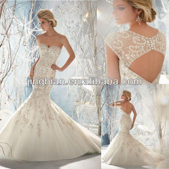 cristales de lujo sirena vestido de novia lc05 caro vestido de boda ...
