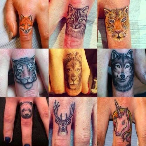 Tatuajes De Rostros De Animales En Los Dedos Tattoospiercings