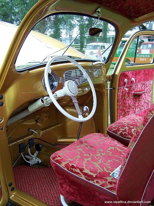 Gold And Purple Mild Kustom Inspired Vw Bug Interior Can I May I I M Obsessed Vw Bug Interior Dream Cars Jeep Vintage Vw