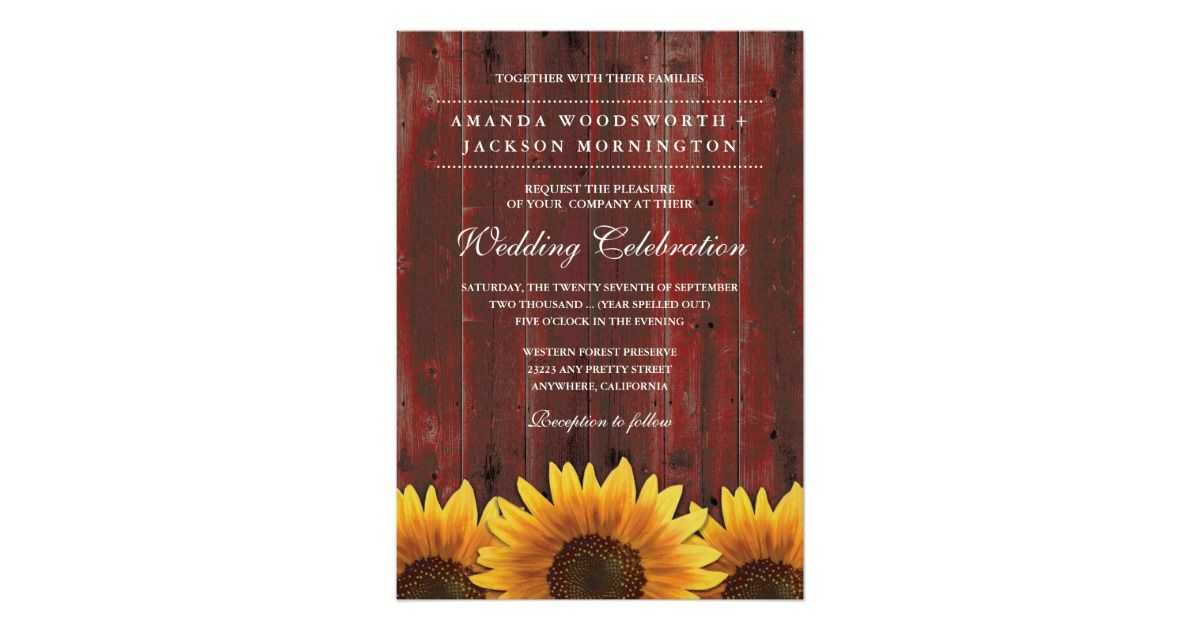 sunflower wedding invitations printable%0A Red Barn Wood Rustic Sunflower Wedding Invitations