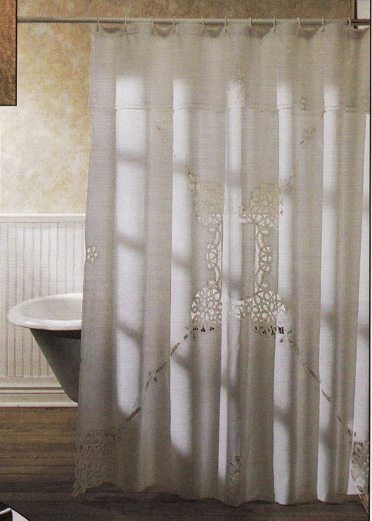 White And Elegant Cotton Fabric Shower Curtains Can Transform An Ordinary Bathroom Into A Luxurious Haven Simply Battenburg Lace Curtain Is Be
