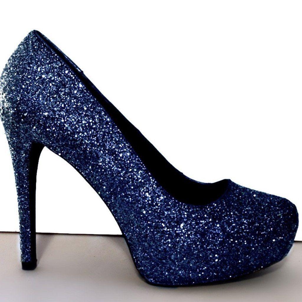 Women s Sparkly Navy Blue Glitter Pumps Heels shoes Wedding Bride  Comfortable 5a77869420