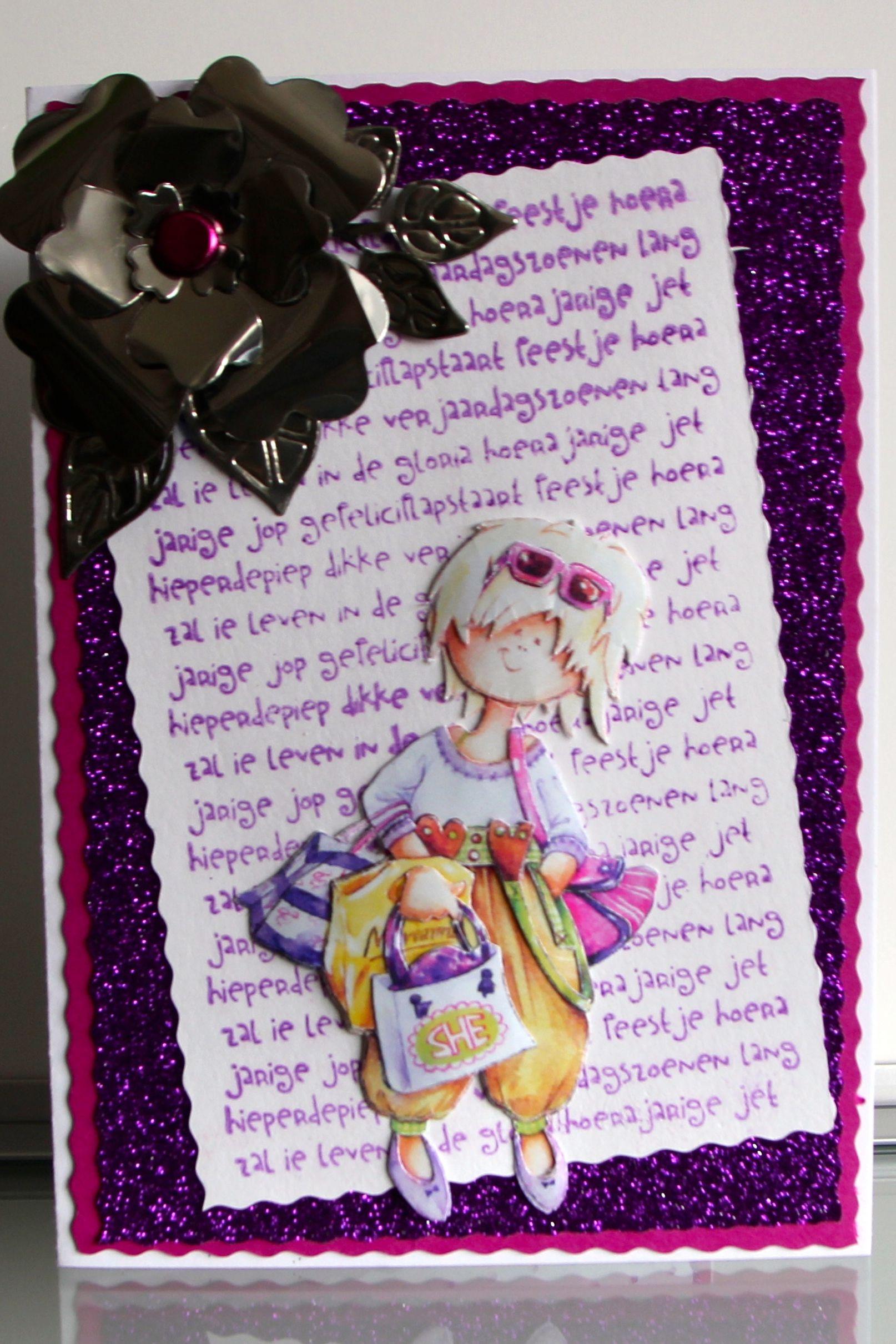 Verjaardag kind bloem is gemaakt van een blikje. www.minkikaarten.nl