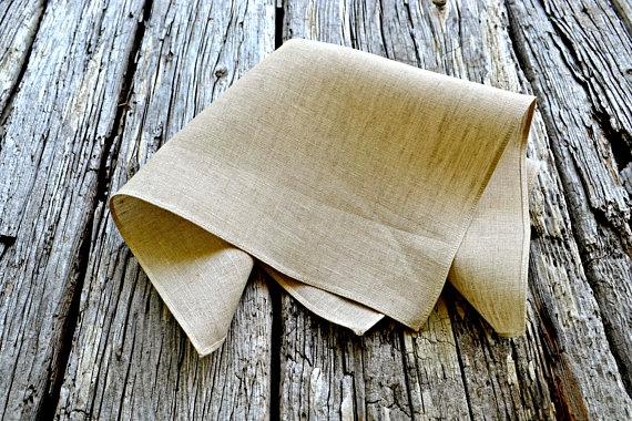 562c004ca9ca2 Oatmeal Linen Handkerchief, Irish Linen Handkerchief, Unbleached Pocket  Square, Formal Pocket Square