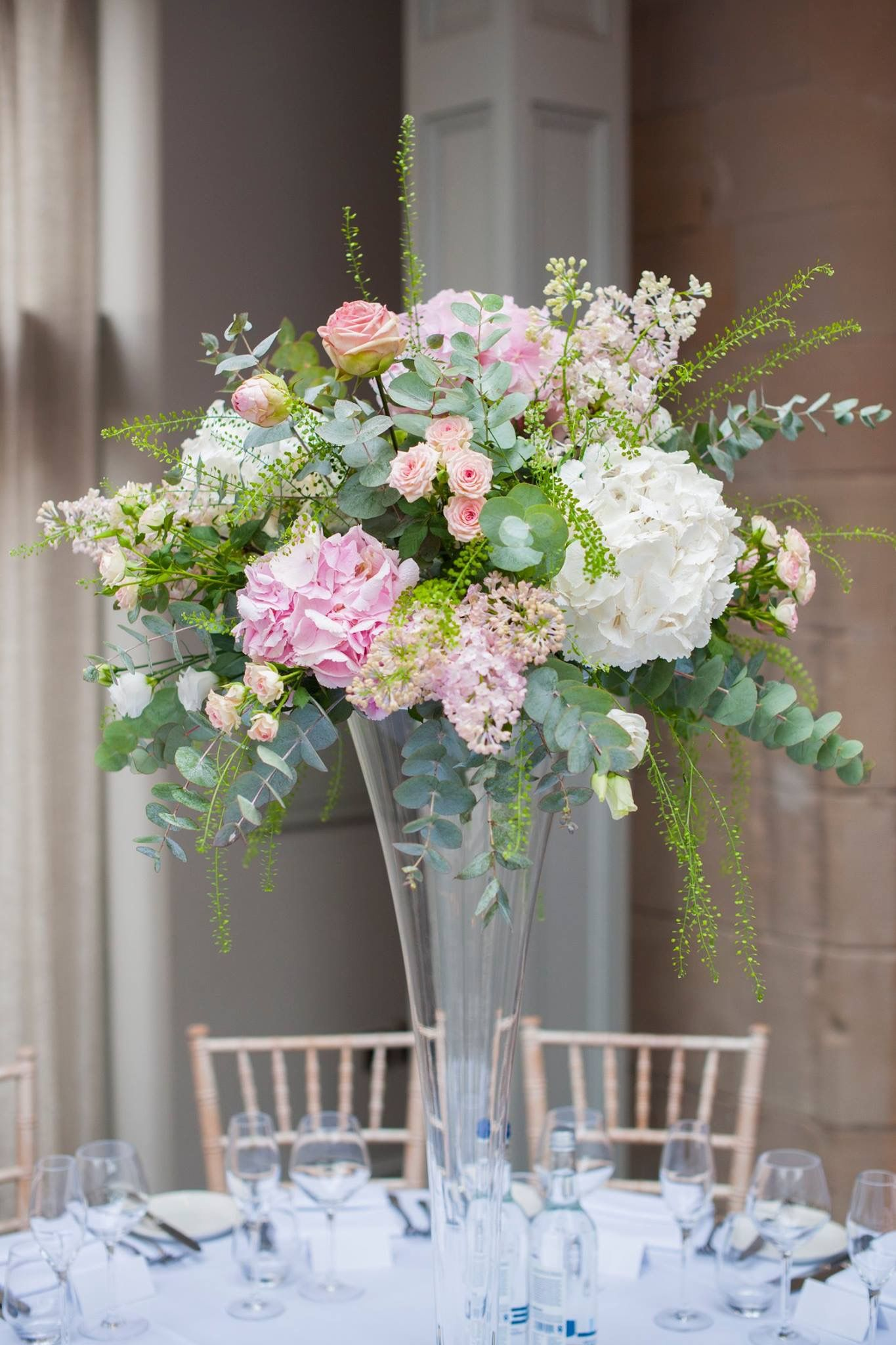 Tall White And Pink Hydrangea Centrepiece Photographed By Source Images Pink Hydrangea Centerpieces White Hydrangea Centerpieces Pink Flower Arrangements