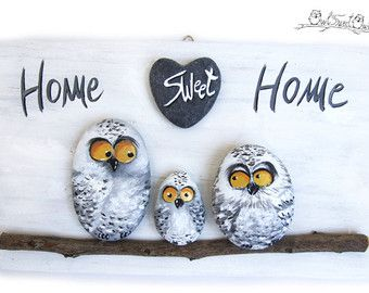Unique Handmade 'Home Sweet Home' Snowy Owls Family Painting | 3-D Artwork Made with Painted Stones, Stick and a Marble Heart