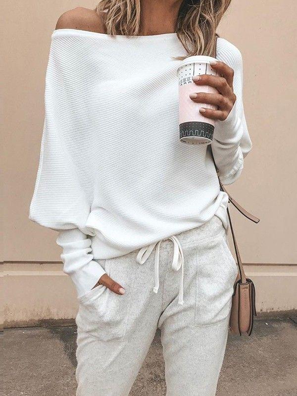 Weiße One Shoulder Fledermausärmel Oversize Lässige Damen Schulterfreie Strickpullover Mode #modafemenina