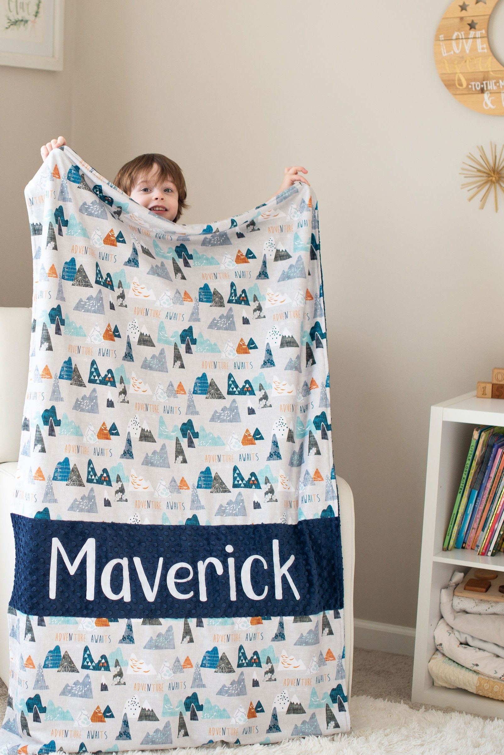 Adventure Awaits Navy Minky Blanket With Name Personalized Baby
