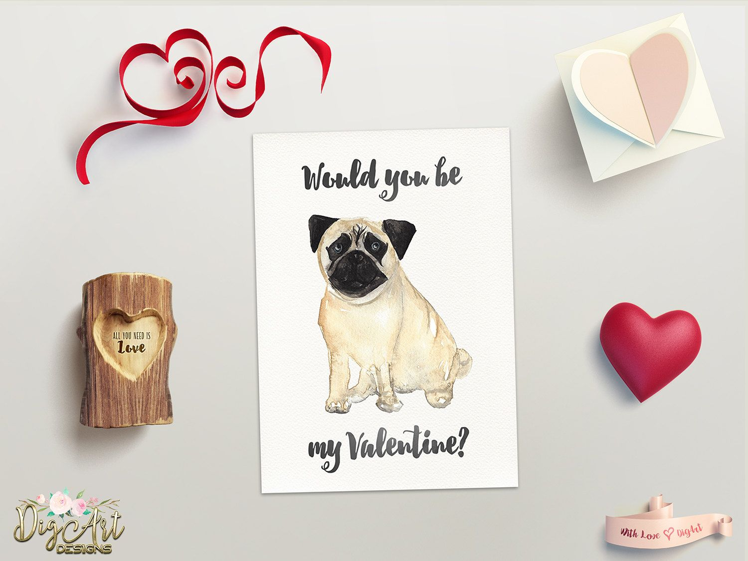 Repin Now For Later Pug Valentine Card Printable Valentines Day